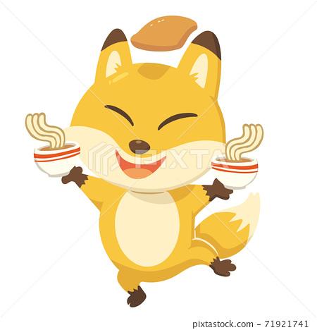 開朗的狐狸。我手上有一碗烏冬面,頭上有炸雞。沒有電話 71921741