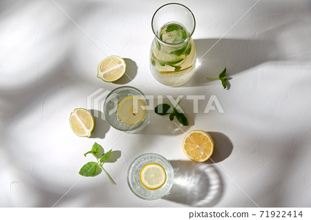 glasses with lemon water and peppermint on table 71922414