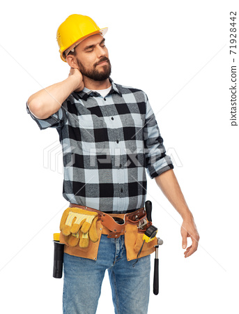 male worker or builder with neck pain 71928442