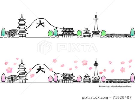 簡單的手繪春天京都城市景觀線圖集/粉紅色 71929407