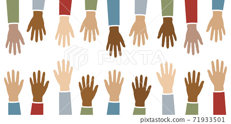 raised hands in different skin colors isolated on white 71933501