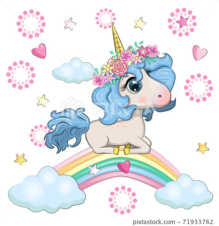 Cute magical unicorn and rainbow. 71933762