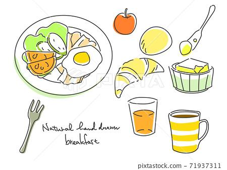 심플하고 세련된 손으로 그린 일러스트 서양식 아침 식사 71937311