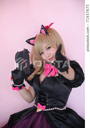 Japan anime cosplay , portrait of girl cosplay in pink room background 71937675