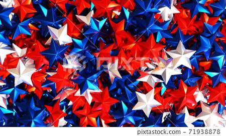 許多星星呈星狀條紋。 3D渲染 71938878