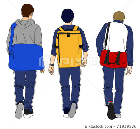 Illustration of a backward-looking male student returning from club activities 71939526
