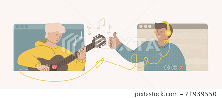 Online guitar course. Distance learning. Video Conference young teen guy playing the acoustic guitar. Music teacher shows like to the student. Education at home. Vector illustration in a flat style. 71939550