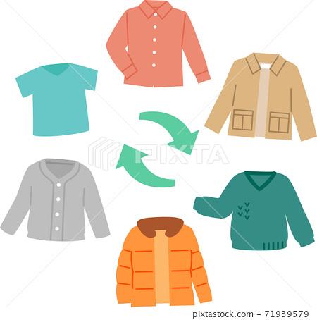 夏季和冬季的衣服,換衣服 71939579