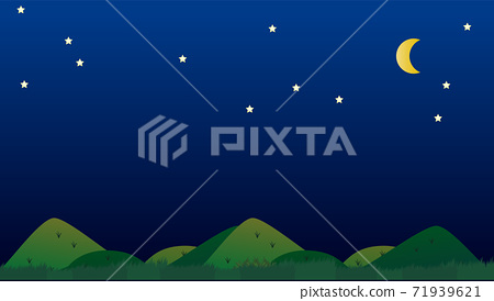 Simple and cute natural background illustration of mountains, night sky and crescent moon 71939621
