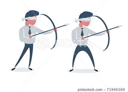 Blindfolded businessman shooting arrow. Missed the target. Isolated on white background. Set. Flat 71940169