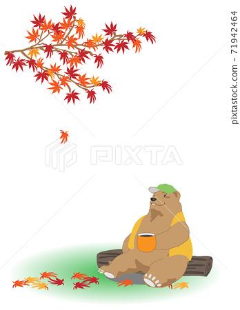 熊在秋天的落葉下喝咖啡 71942464