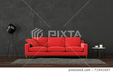 interior black living room with red sofa,  plant, lamp, 3D render 71942897