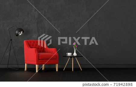 interior living room with armchair, lamp. 3D render 71942898