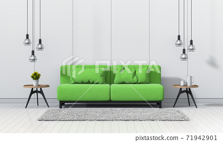 interior modern living room with sofa, plant, lamp, decoration, 3D render 71942901