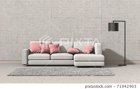 interior living room wall concrete with sofa, lamp, decoration, 3D render 71942903