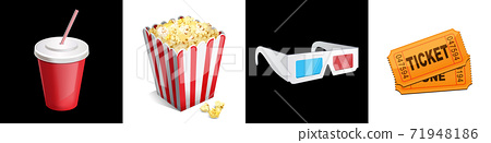 Cinema icon set 3d glasses, ticket, soda, popcorn 71948186