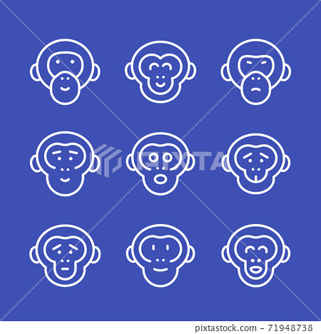 apes line icons set 71948738