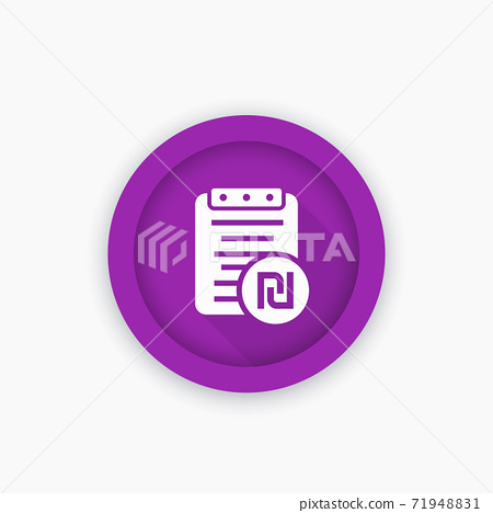 Payroll icon, round pictogram with shekel sign 71948831