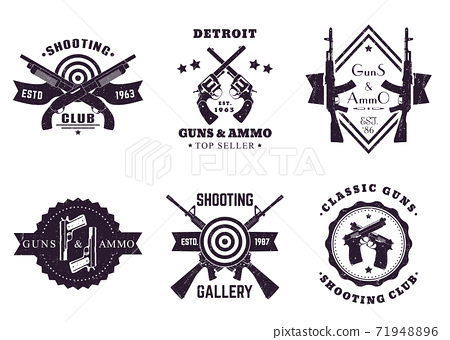 guns, vintage logos with rifles, revolver, pistols 71948896