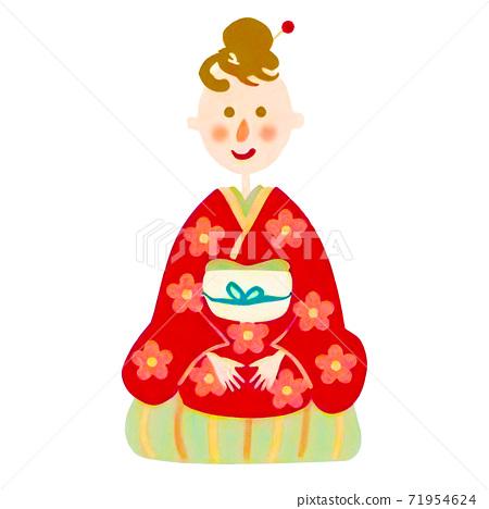 기모노를 입은 심플한 귀여운 여성의 일러스트 71954624