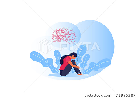 imposter syndrome, Woman suffers depression complex psychological disease emotion concept 71955387