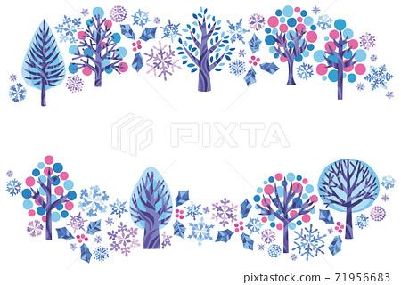 Winter snowflake, next to the wooden round frame 71956683