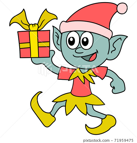 the goblin is walking brings a birthday gift 71959475