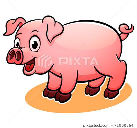 Vector happy pig cartoon illustration 71960564