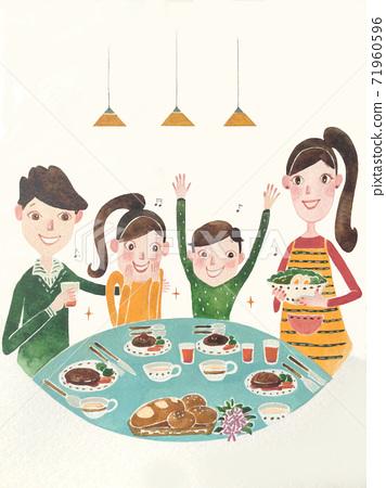 一個家庭的快樂和幸福時光的插圖 71960596