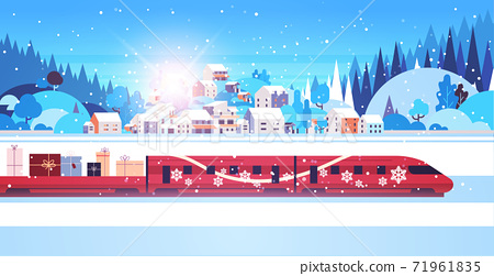 red train delivering gifts merry christmas happy new year holidays celebration express delivery concept 71961835