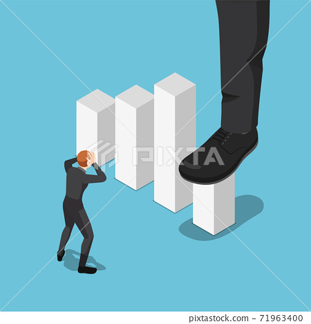 Isometric Big Businessman Foot Stepping On and Stop Growing Business Graph 71963400