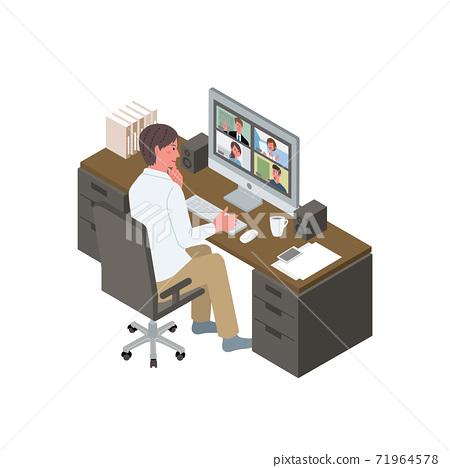 在線會議的遠程工作男性等距遠程辦公圖 71964578