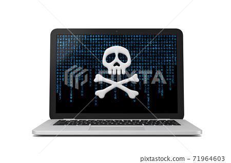 Laptop Computer Cybercrime Concept 3D Illustration 71964603