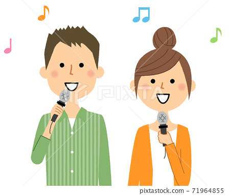 年轻夫妇唱歌 71964855