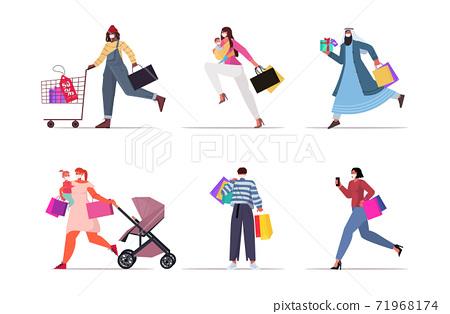 set mix race people in masks holding shopping bags black friday big sale promotion discount coronavirus quarantine 71968174
