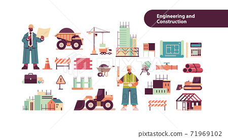 set engineering tools icons with mix race architect and engineer in helmets working on construction site 71969102