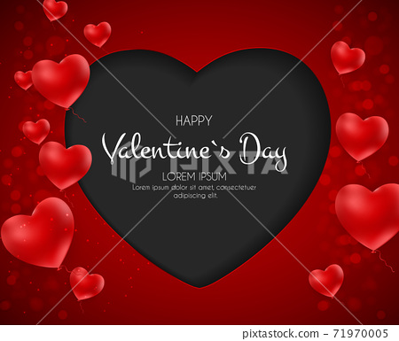 Happy Valentines Day Card with Heart. Vector Illustration 71970005