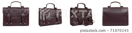 set of new fashion male business bags or briefcase in dark brown leather, designer genuine bag for 71970143