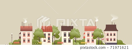 illustration of a small two-story house 71971621