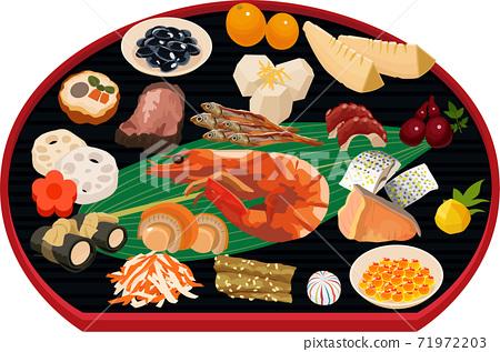 新年插圖素材新年菜餚和半月酒黑色 71972203