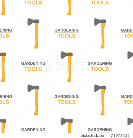 Seamless pattern with cartoon axes on white background. Gardening tool. Vector illustration for any design. 71972585