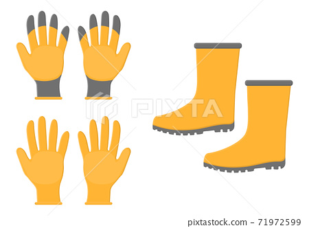Yellow rubber boots and gloves isolated on white background. Gardening tools. Vector illustration in cartoon style for your design. 71972599