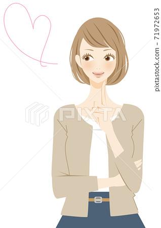 一個女人與一個心形標記和一個微笑婚姻的插圖 71972653