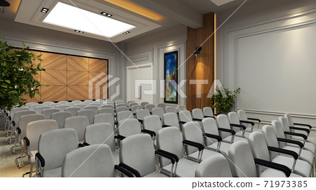 School conference hall concept design with wooden wall 3D rendering 71973385