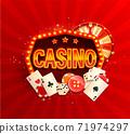 Online casino banner in vintage light frame 71974297