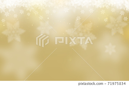 Winter Christmas ice crystals snowflake background golden illustration 71975834