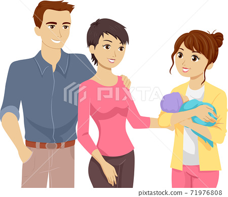 Teen Girl Baby Parents Illustration 71976808