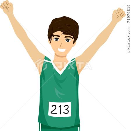 Teen Boy Marathon Runner Illustration 71976819