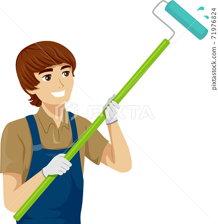 Teen Boy Job House Painter Illustration 71976824