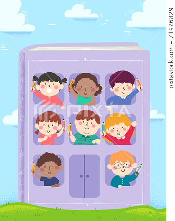 Kids Hold Pencils Book Building Illustration 71976829